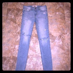 Light denim size 3 distressed Hollister jeans
